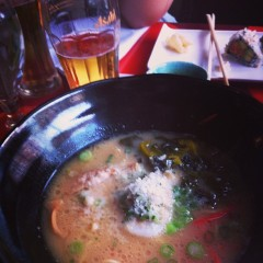 A bowl of Ramen and glass of Asahi cost over $21 in Tribeca.
