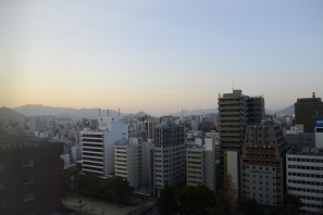 View of the sunrise over Hiroshima City from our hotel room